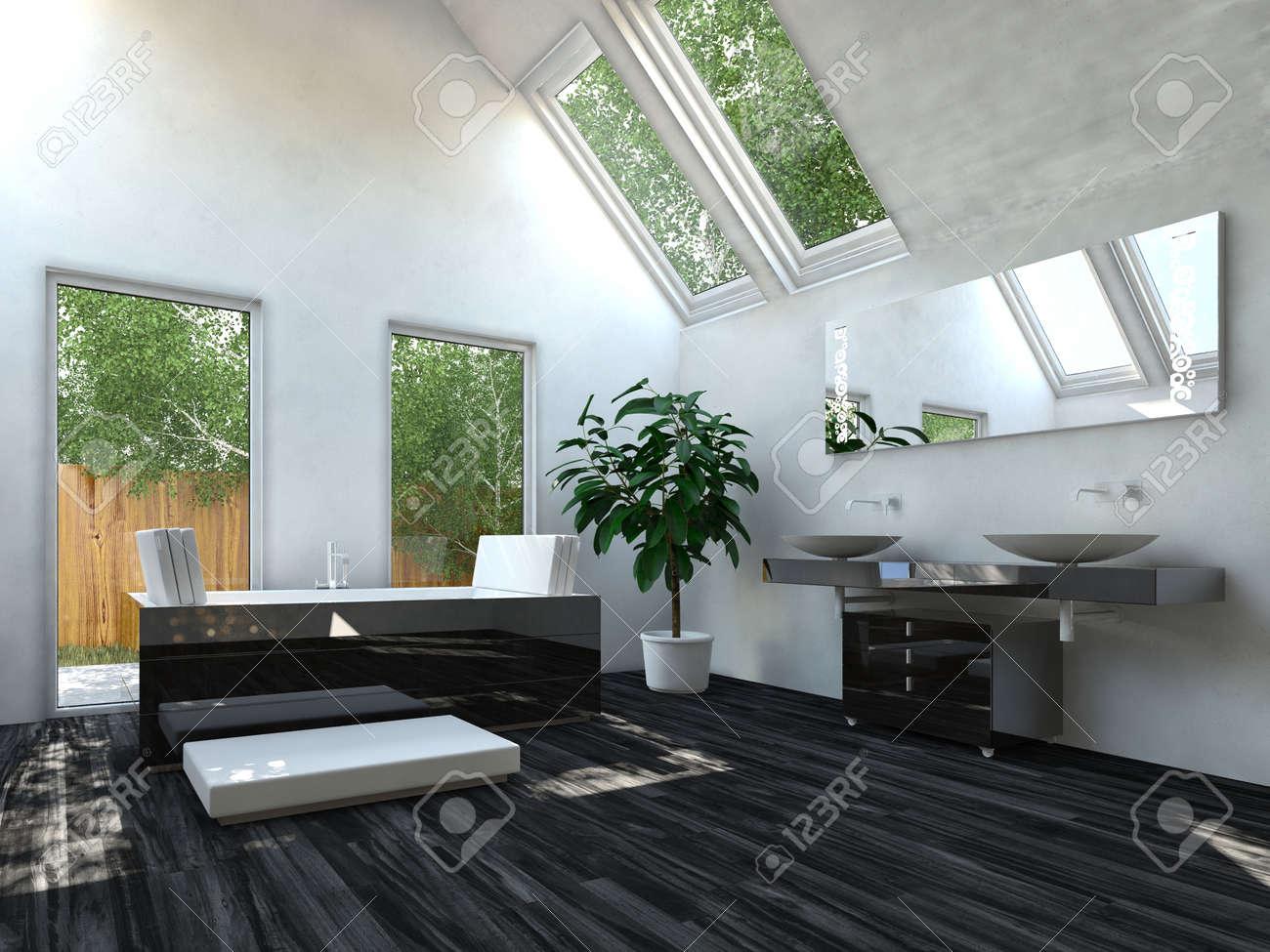 Elegante Schwarze Bodenbelag Wohnzimmer Mit Weißen Und Glaswände  Standard Bild   31010339