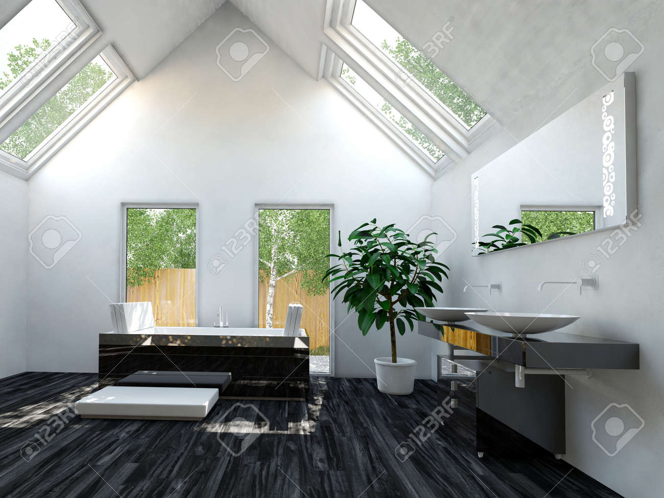 Beautiful Black And White Interior Design Lavatory Area