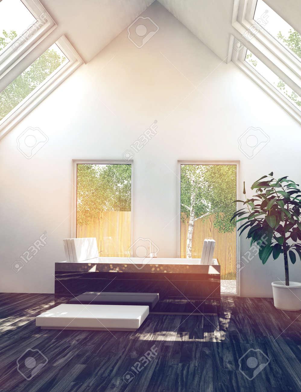 Schöne Schwarz Weiß Interior Design Badezimmer Oberfläche Standard Bild    31010367