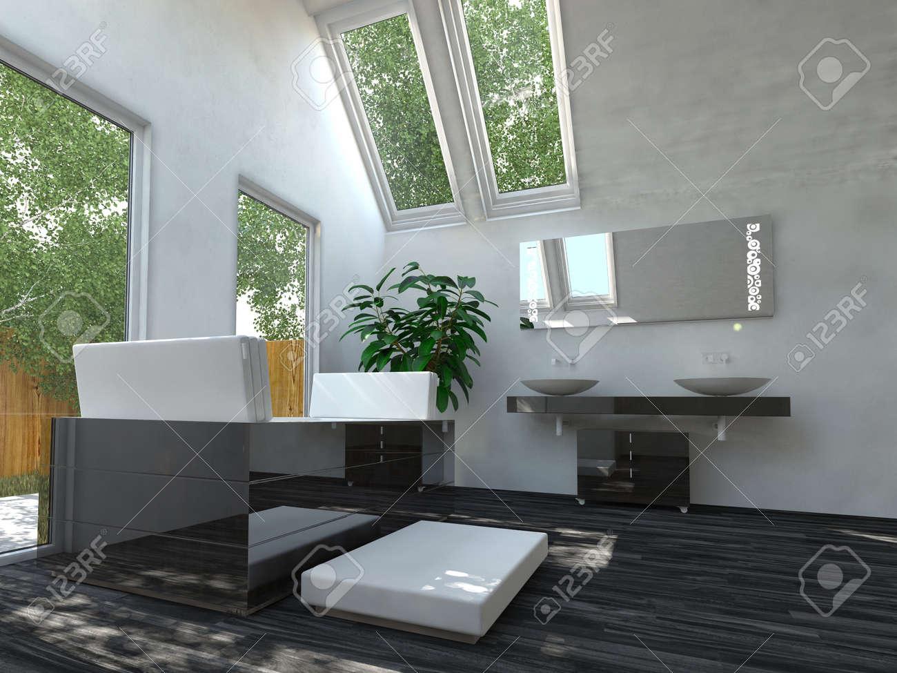 Hermoso Blanco y Negro Diseño de Interiores Zona Cuarto de baño con bañera