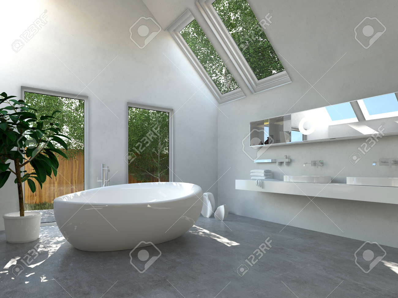 Modern Bathroom Interior With A White Freestanding Central Oval ...