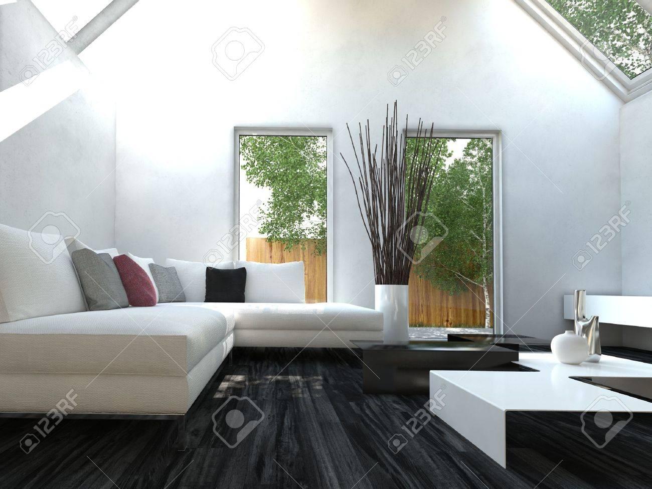 Moderne Zwart-wit Ontwerp Stijl Woonkamer Interieur Met Mooie ...
