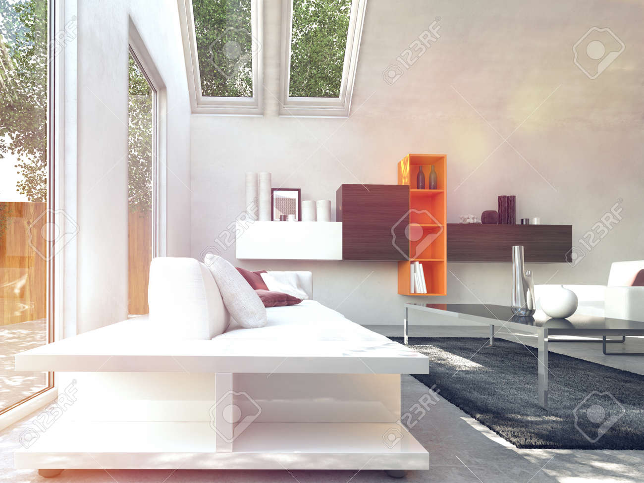 White Inspired Cosy Modern Design Living Room With Class Table At Center.  Stock Photo