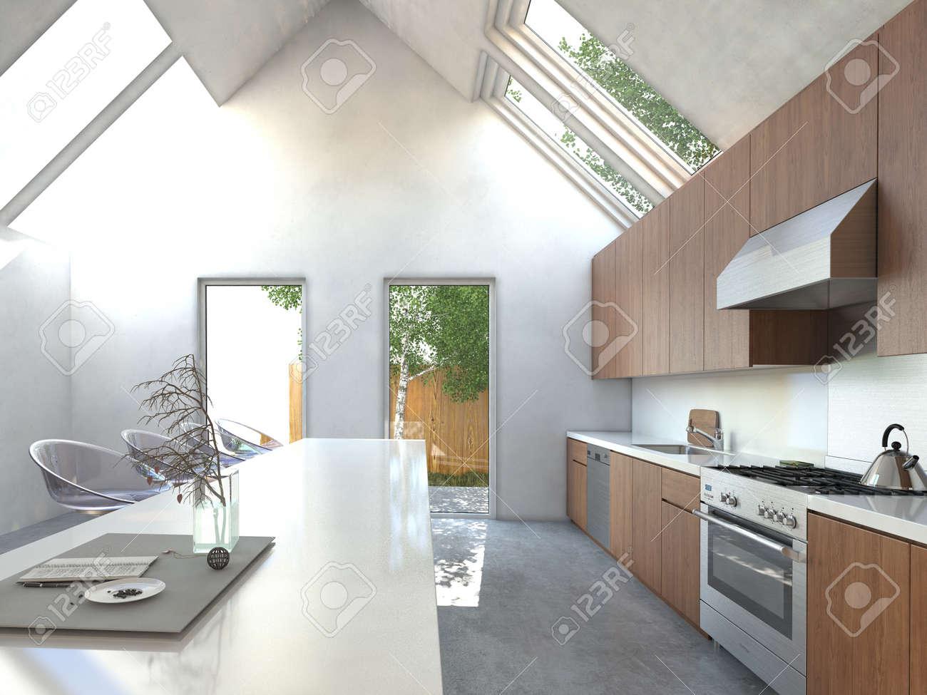 Geräumige Offene Küche Mit Theke, Modern Modular Stuhl, In Holz ...