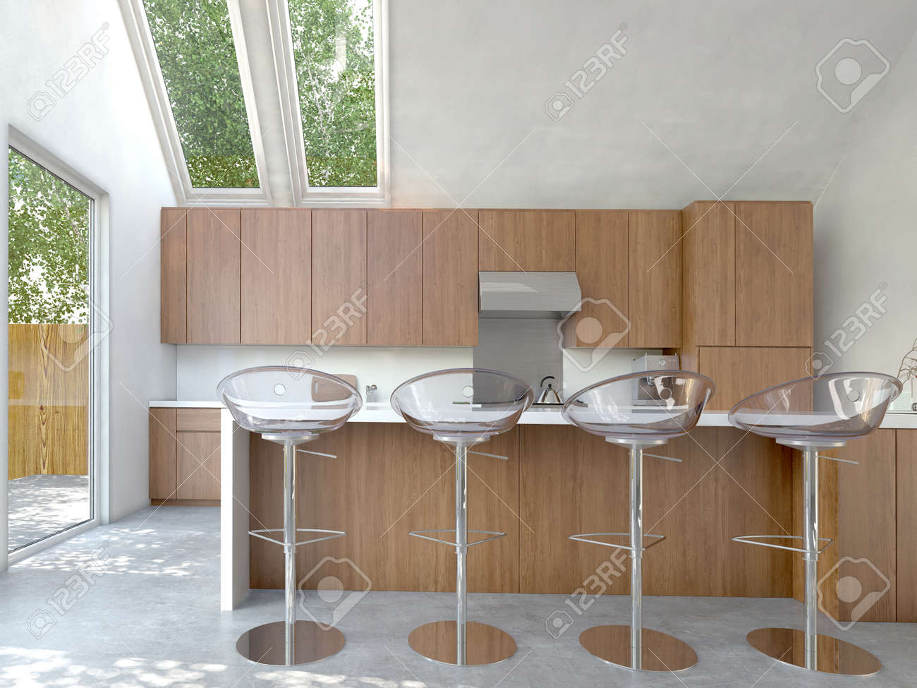 Pequeña Cocina Compacta De Planta Abierta O Interiores Cocina Con ...