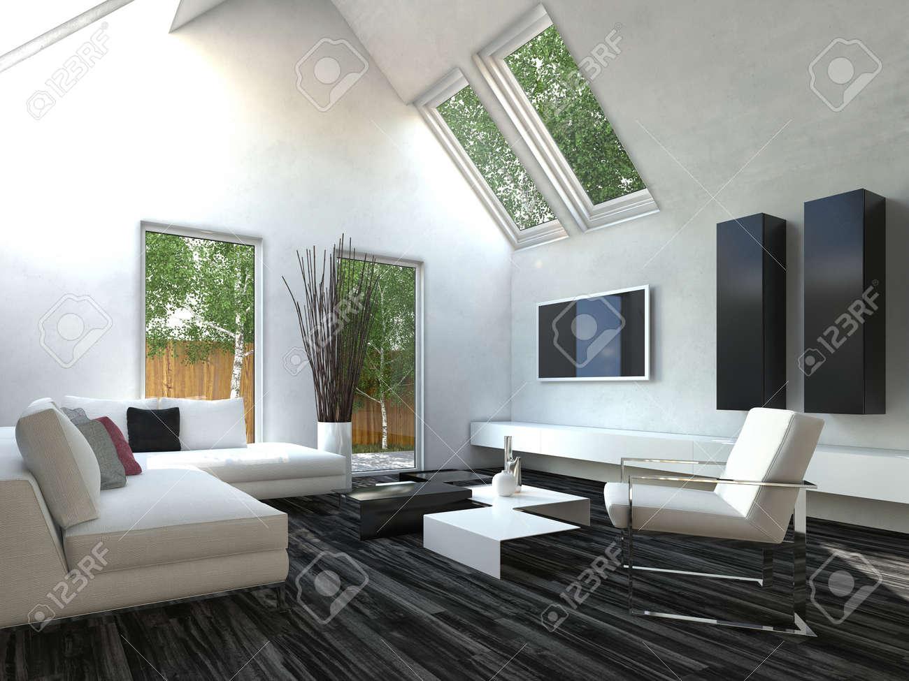 Schöne Schwarz-Weiß-Wohnzimmer Mit Fernseher Lizenzfreie Fotos ...