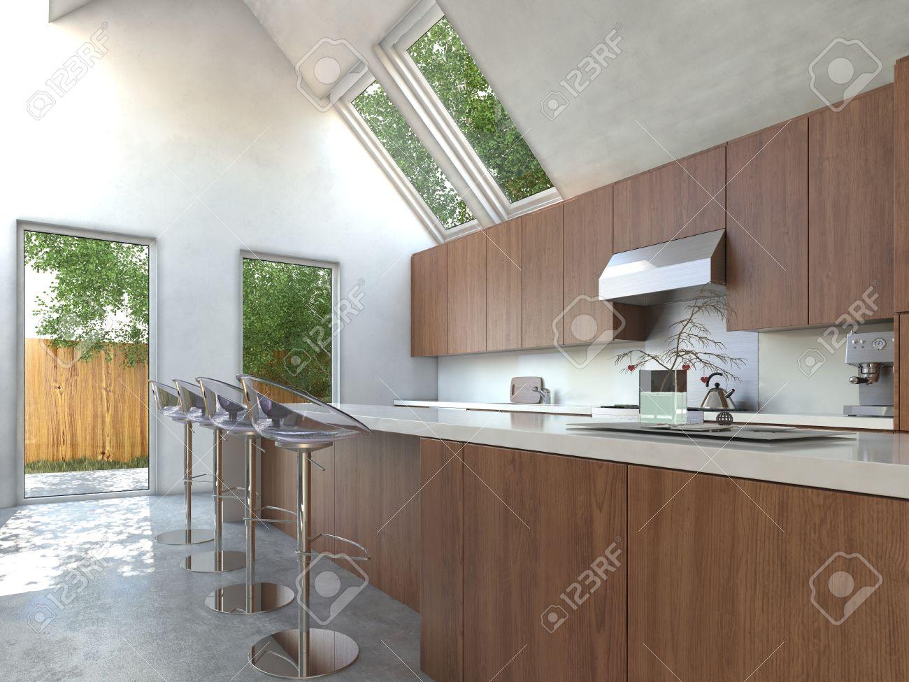 Compact cuisine moderne ouverte avec armoires en bois, un comptoir ...