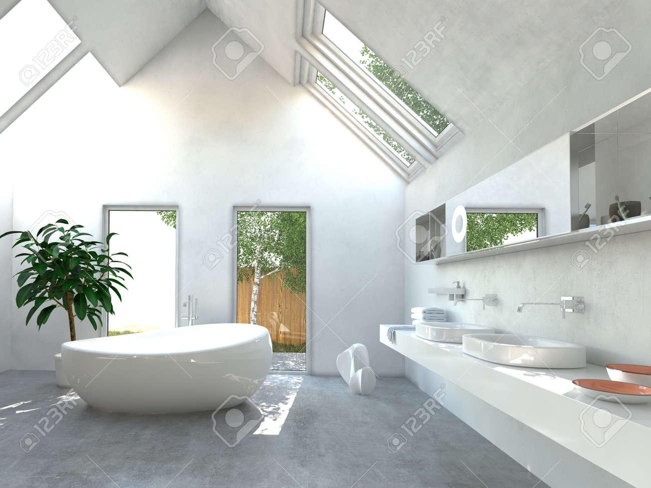 Lumiere Moderne Interieur De Salle De Bains Lumineuse Avec Un Double Mural Vasque Et Miroir Baignoire Autoportante En Ceramique Et Double Voile De