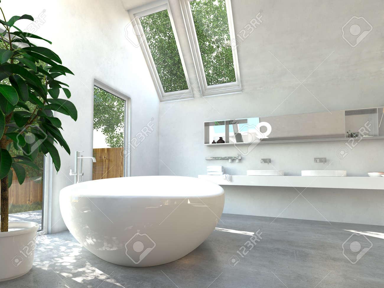 Vasca Da Bagno Vista : Moderno bagno interno con un bianco freestanding vasca da bagno