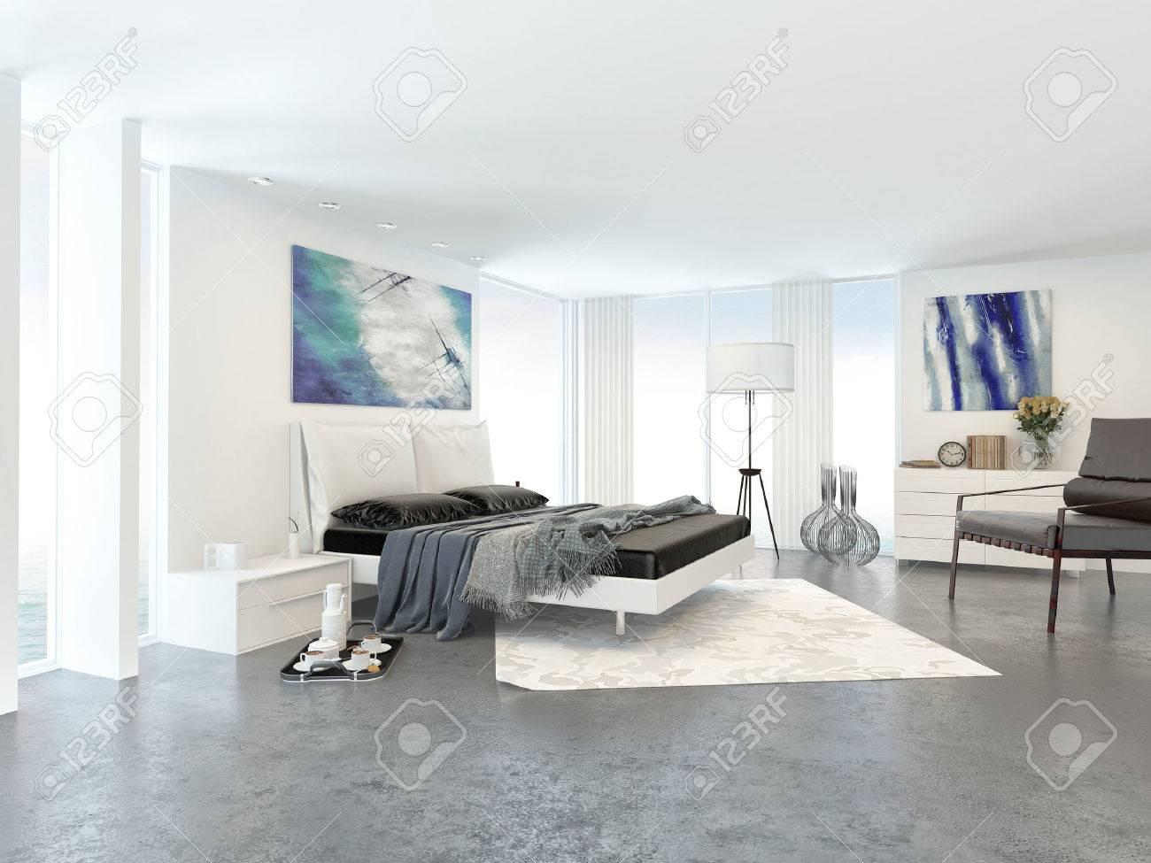 Intérieur De Chambre Moderne Et Lumineux Appartement Décoré Dans Un ...