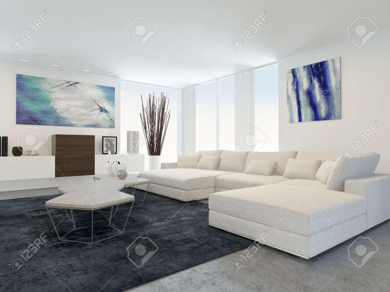 Modern White Furniture For Living Room Interior Of Modern Living Room With White Furniture Stock Photo