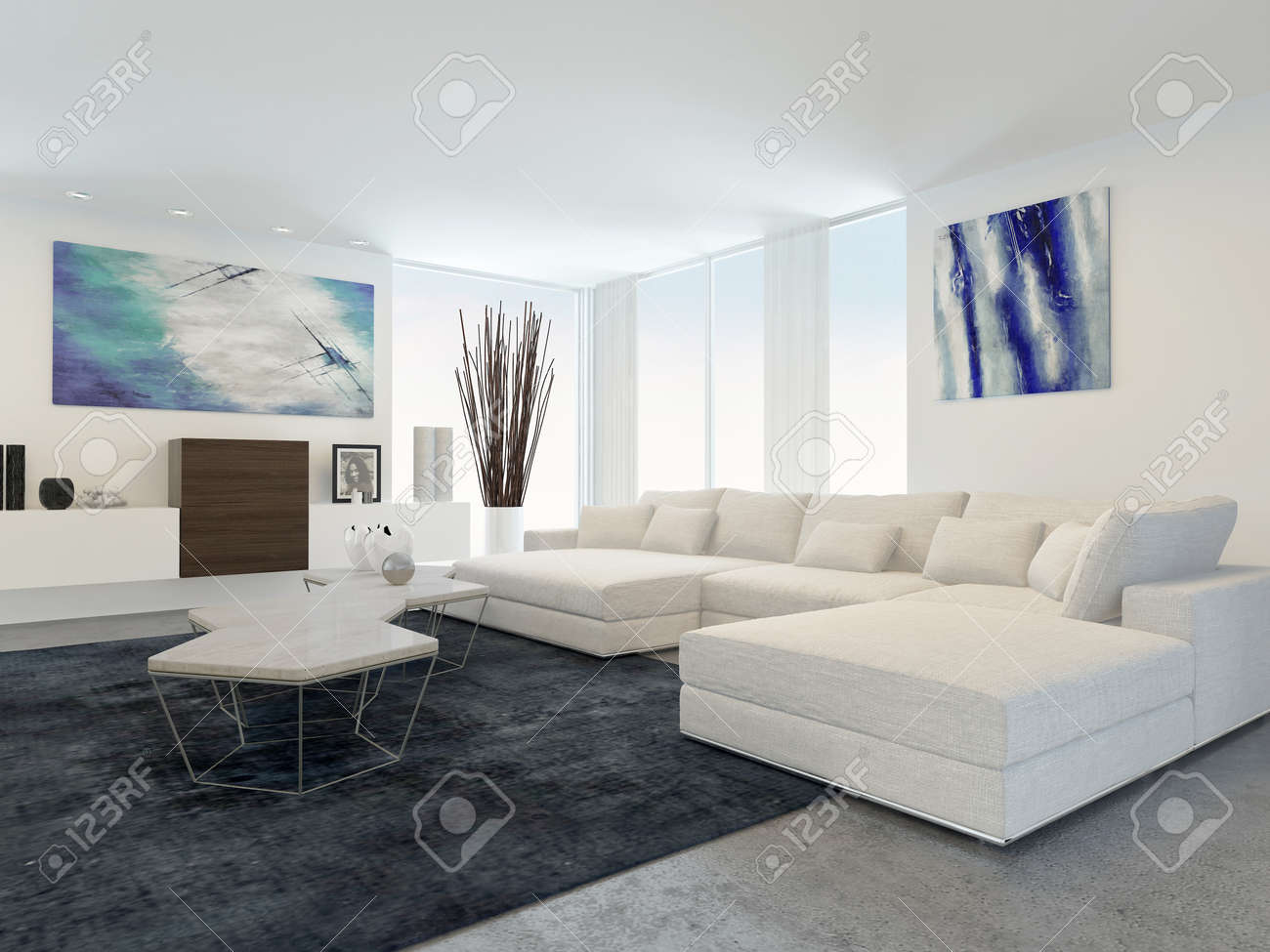 Intérieur Moderne De Salon Avec Des Meubles Blanc Banque D\'Images Et ...