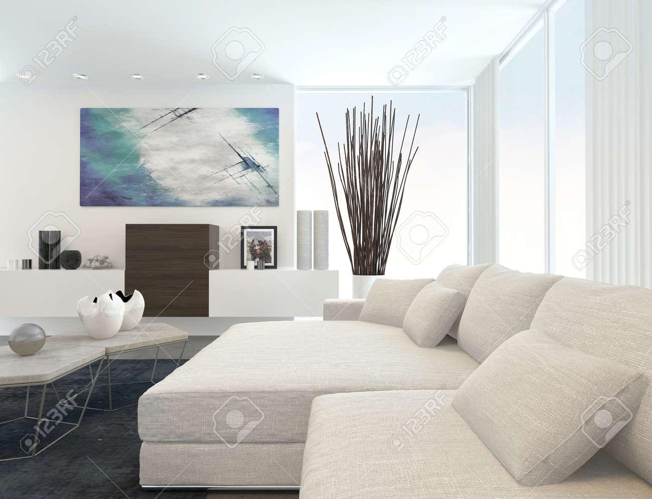 Innere Des Modernen Wohnzimmer In Wohnung Mit Weißen Möbeln ...