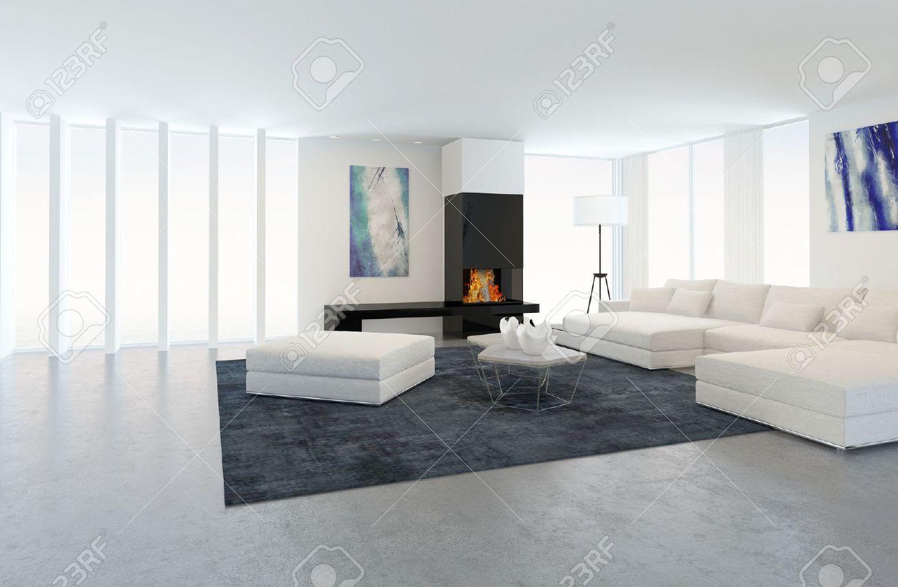 Das Innere Der Modernen Wohnzimmer In Wohnung Mit Kamin Und Weiße ...