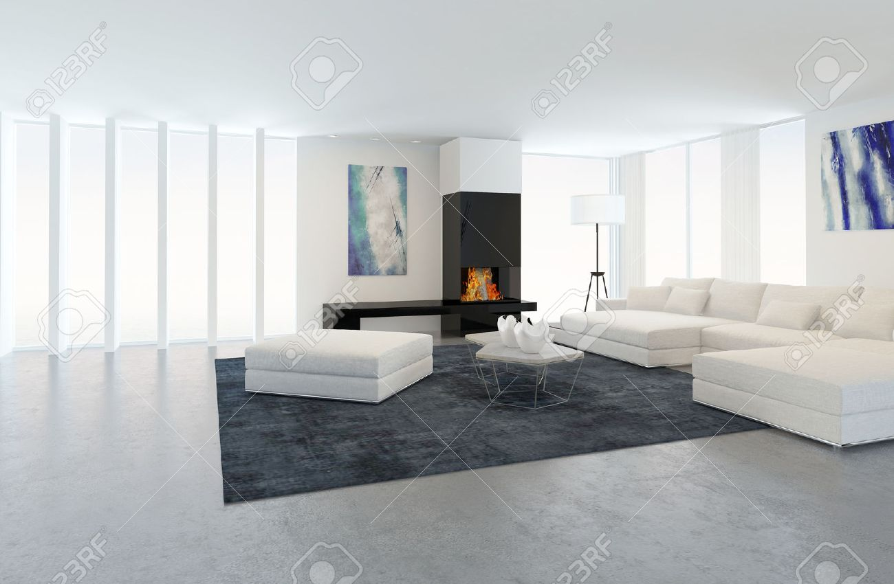 Interior Of Modern Living Room In Apartment With Fireplace And White  Furniture Banque Du0027images