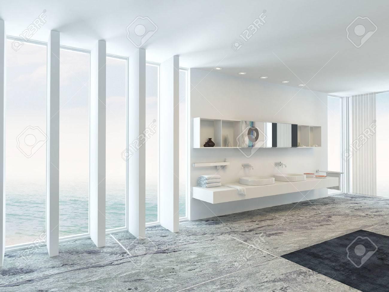 Salle De Bain Plaque intérieur de salle de bain très spacieux, lumineux moderne avec plancher de  la plaque de plafond baies vitrées sur deux côtés et un double mural