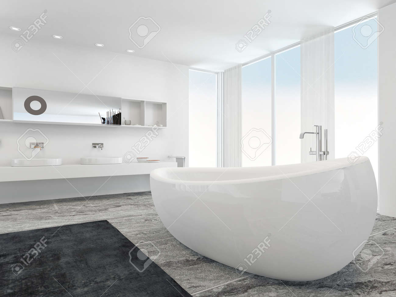 spacious all white bathroom. Stock Photo - Very Spacious Bright Modern Bathroom Interior With Floor To Ceiling Plate Glass Windows On Two Sides And A Double Wall-mounted Vanity Unit All White N