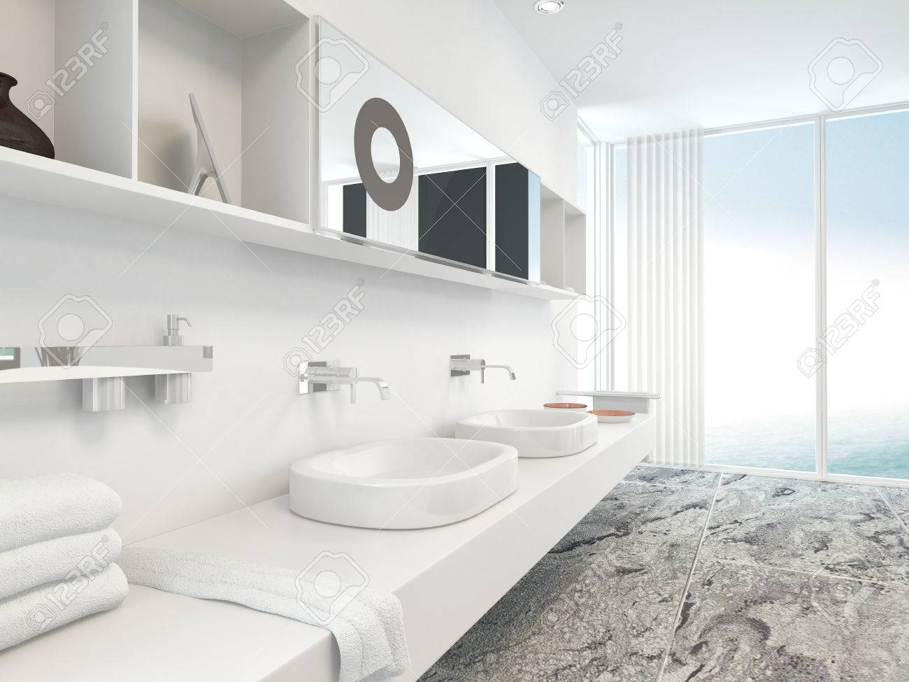 Modern Wall Mounted White Double Vanity Unit With Hand Basins ...