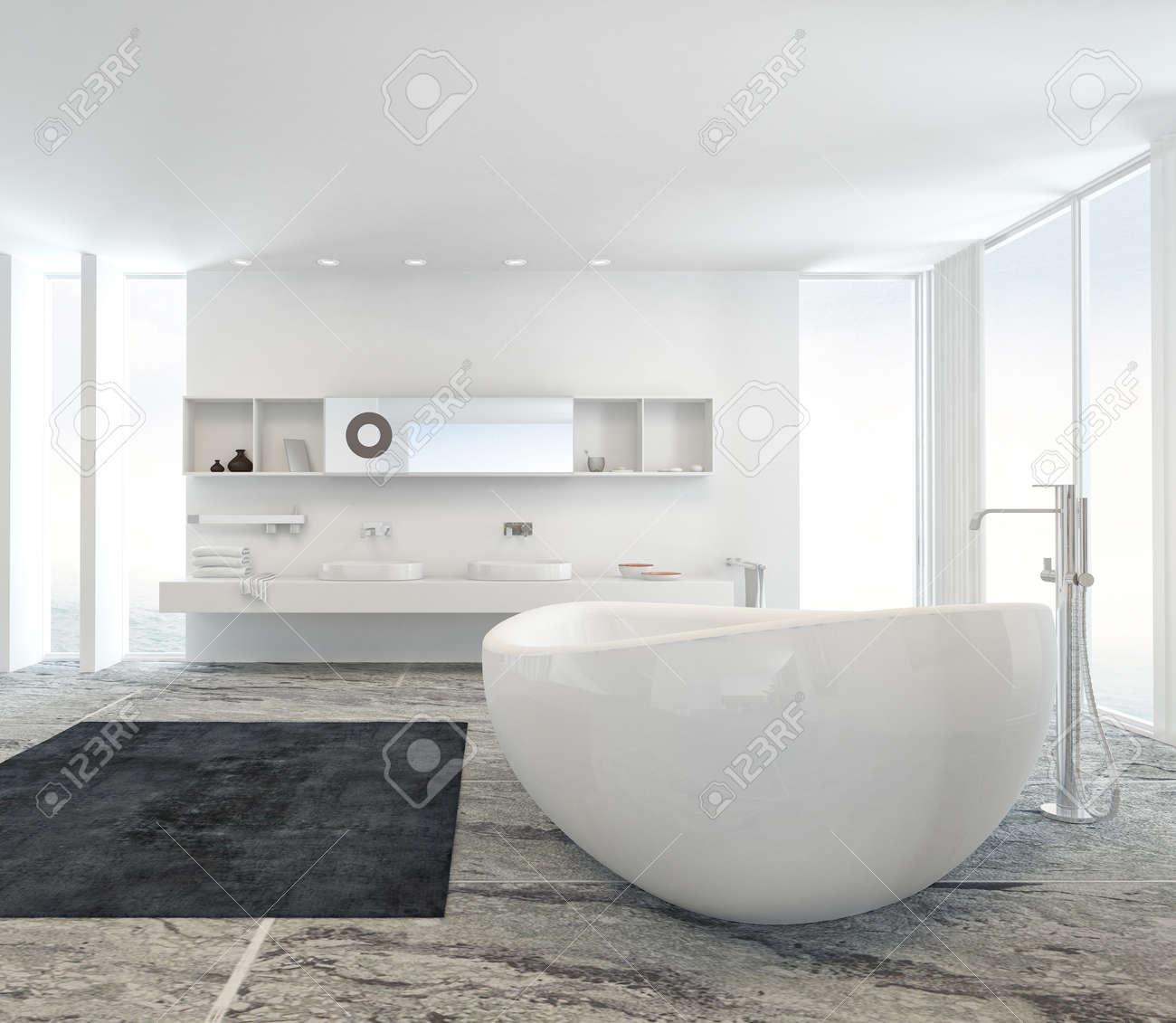 moderno bagno interno con una vasca freestanding bianca su un ... - Bagni Con Vasca Moderni