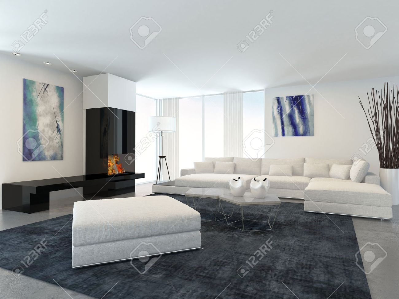 Upholstered Furniture: Interior Of Modern Living Room In Apartment With  Fireplace And White Furniture
