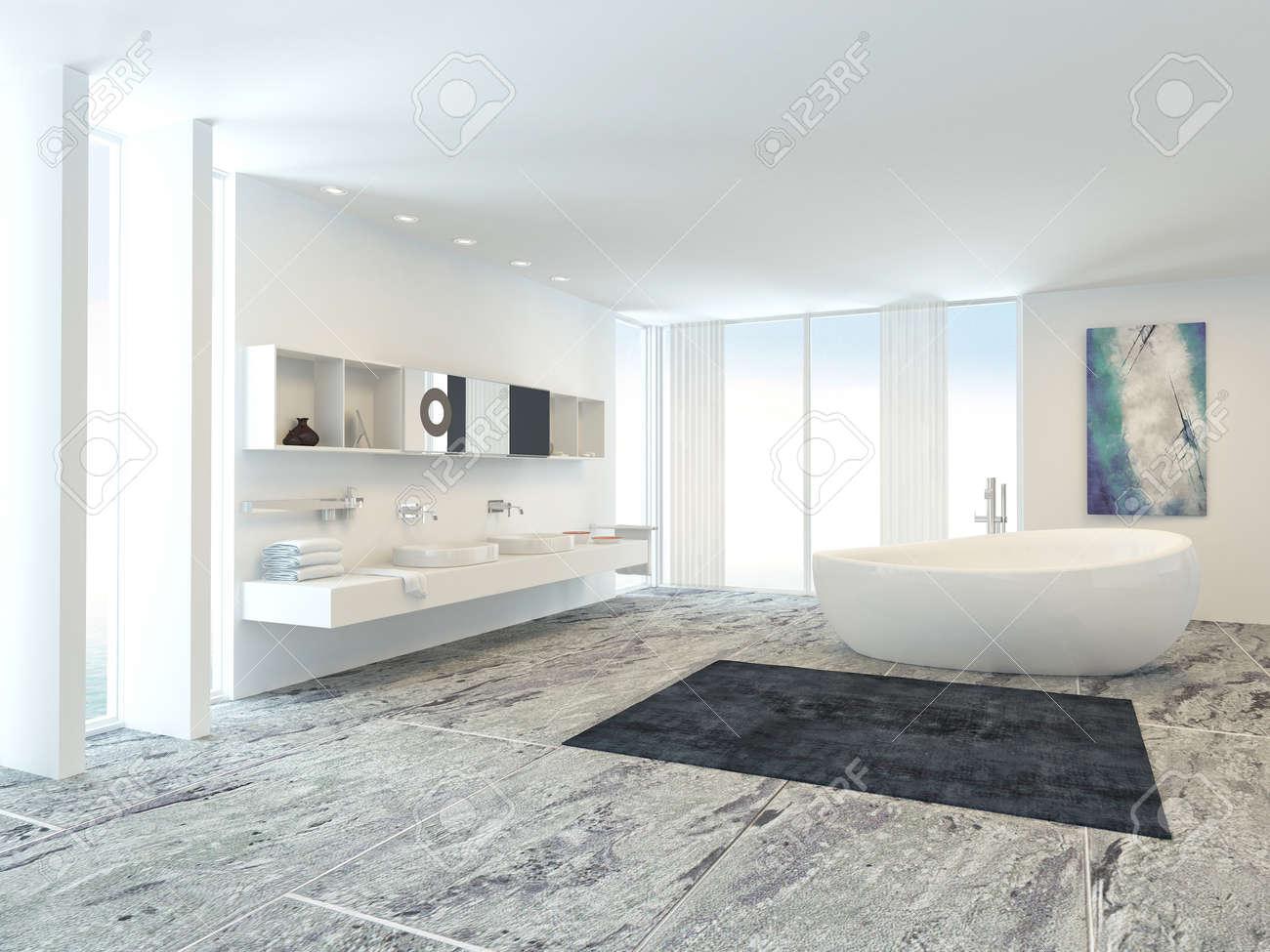 Luxus Hell Weiß Modernen Badezimmer Interieur Mit Einer Freistehenden  Badewanne Und Wand Doppelwaschtisch, Langen Fenstern