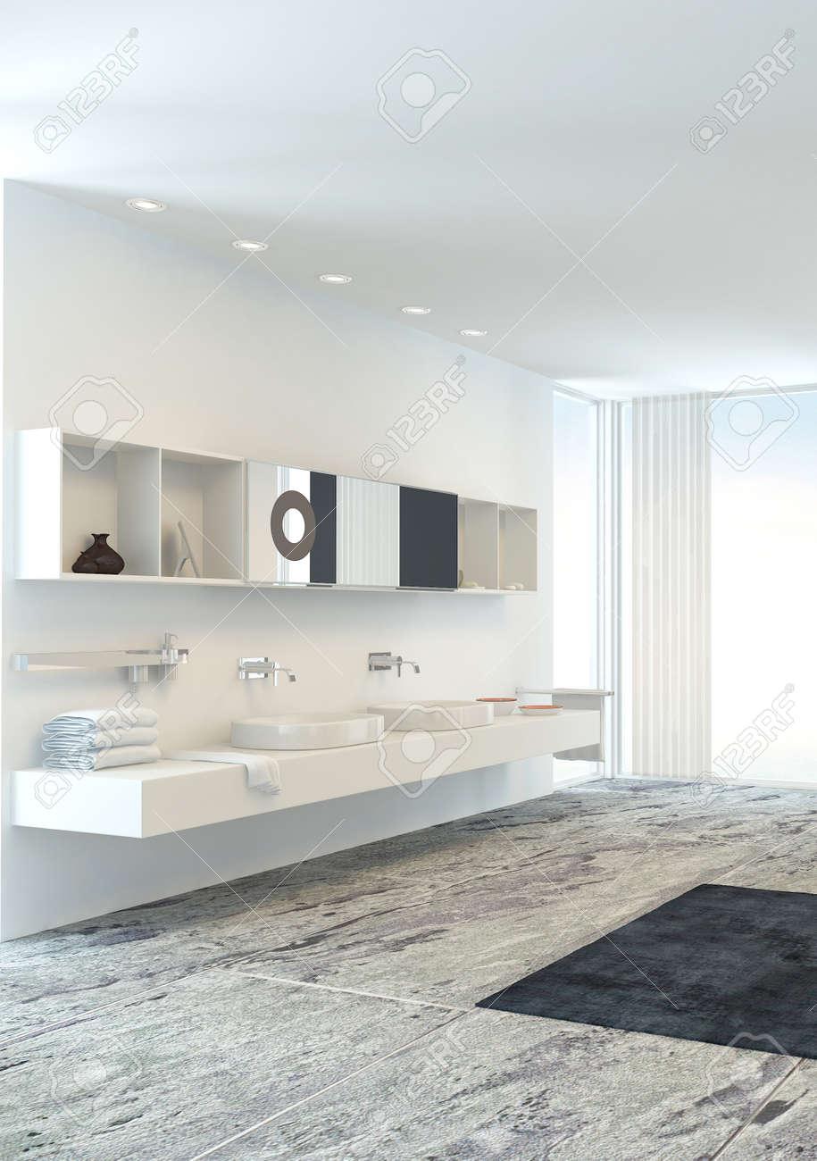 Väggmonterad dubbel underdel i en nytt ljus ljusa moderna badrum ...