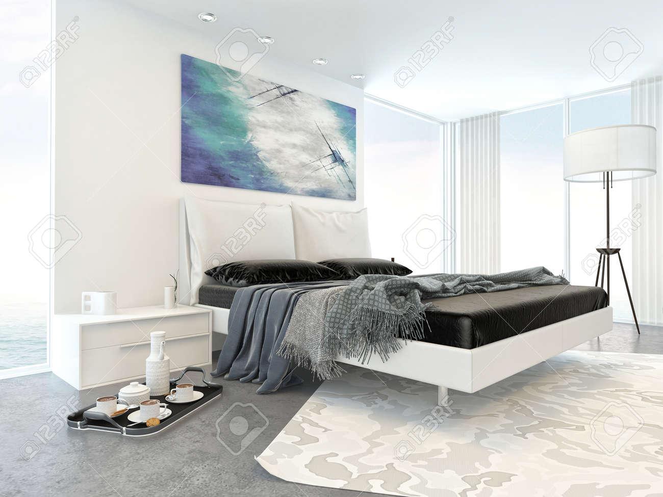 Intérieur de Chambre Blanc Moderne Appartement avec Lit et meubles minimale