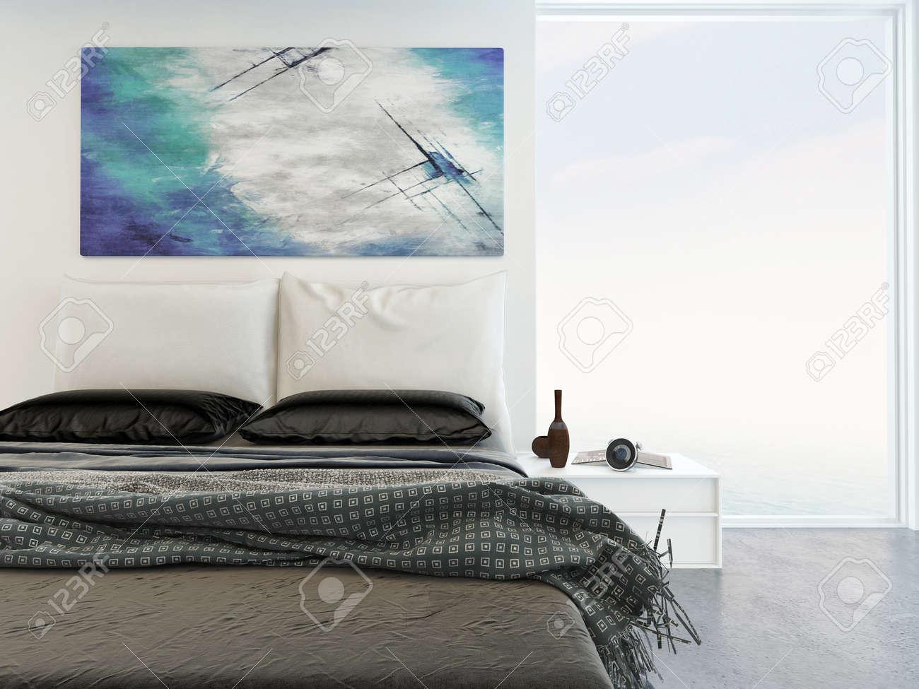 Tapis Sous Lit intérieur de chambre lumineuse confortable avec une vue rapprochée d