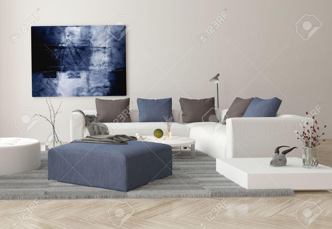 Interieur van de moderne woonkamer met sofa, ottomaanse en artwork ...