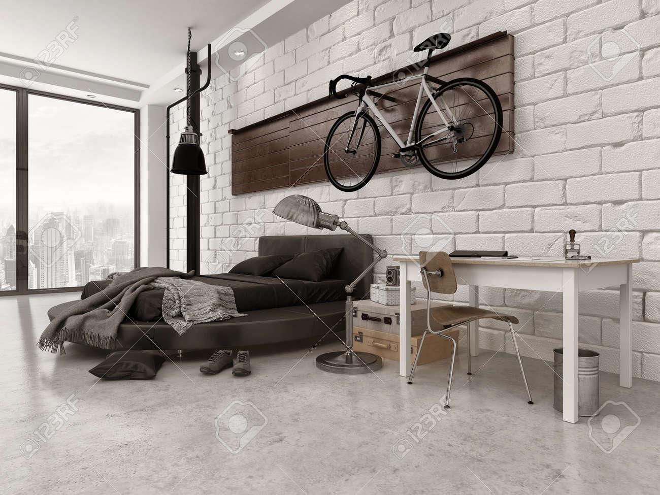 Moderne Slaapkamer Loft Stijl In Een Appartement Met Bakstenen ...