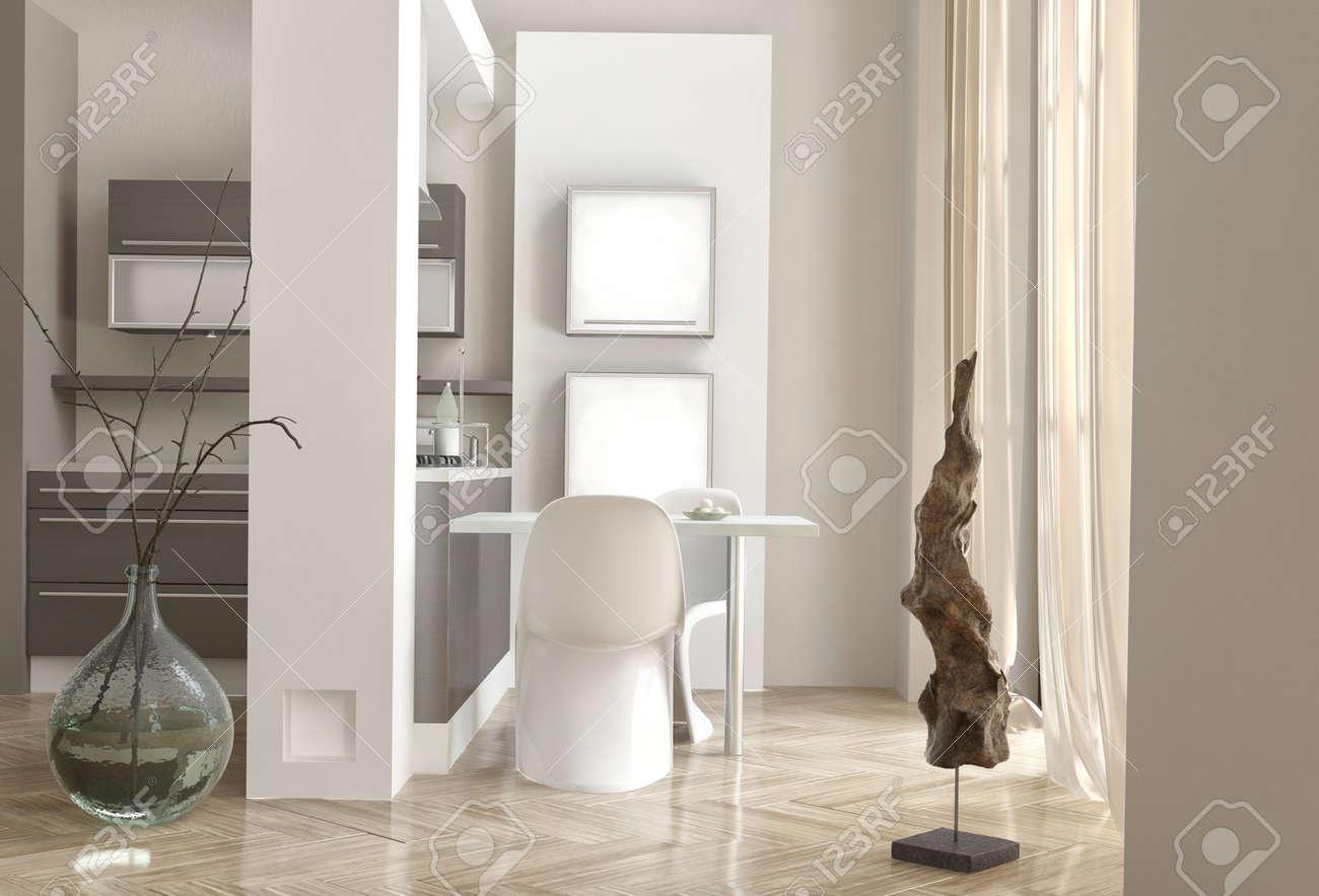 Bürobereich Mit Einem Modernen Stuhl Und Schreibtisch Neben Einer ...