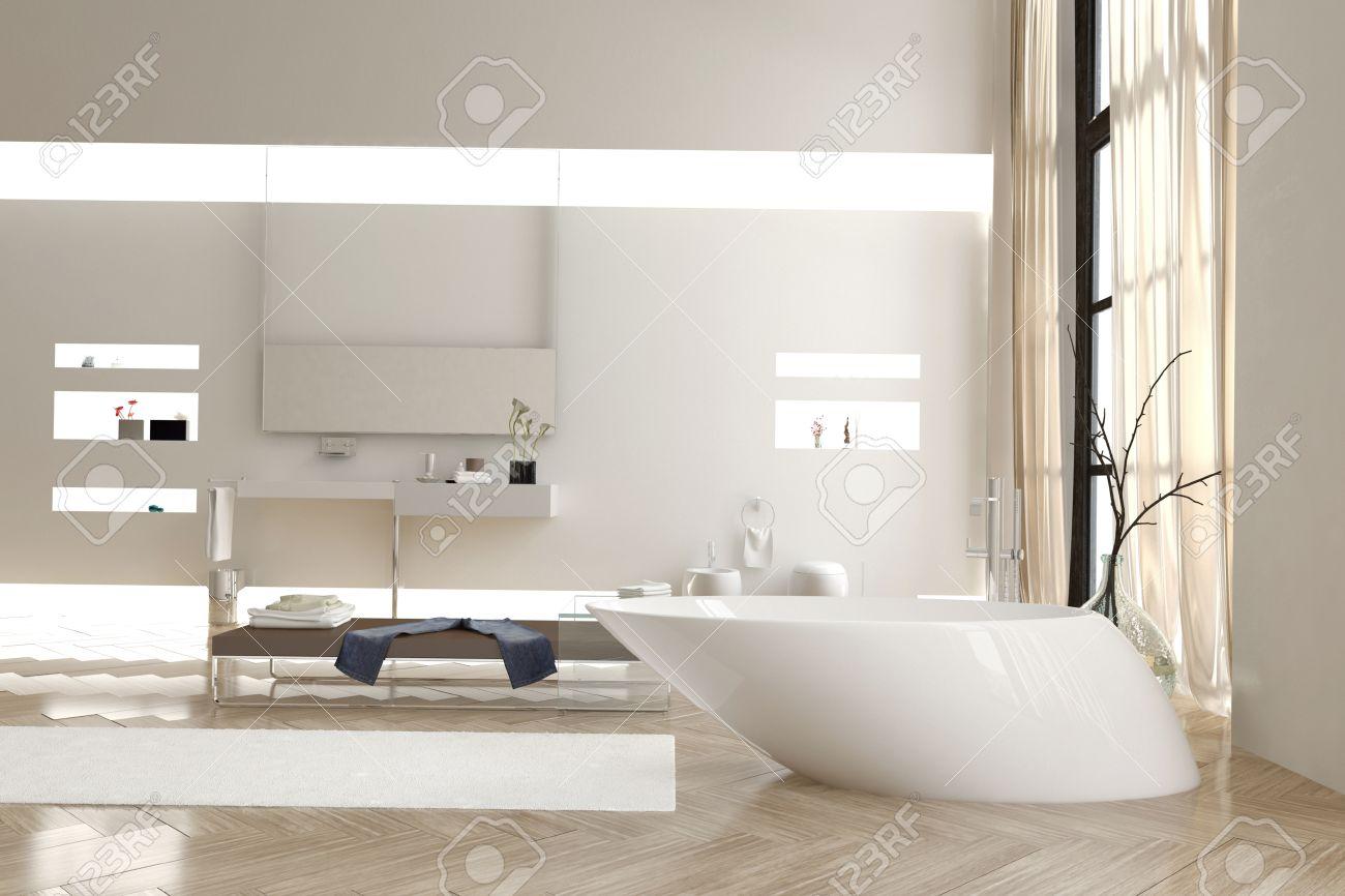 Funky Bathroom Modern Bathroom With A Funky White Bathtub And Wall Mounted Vanity