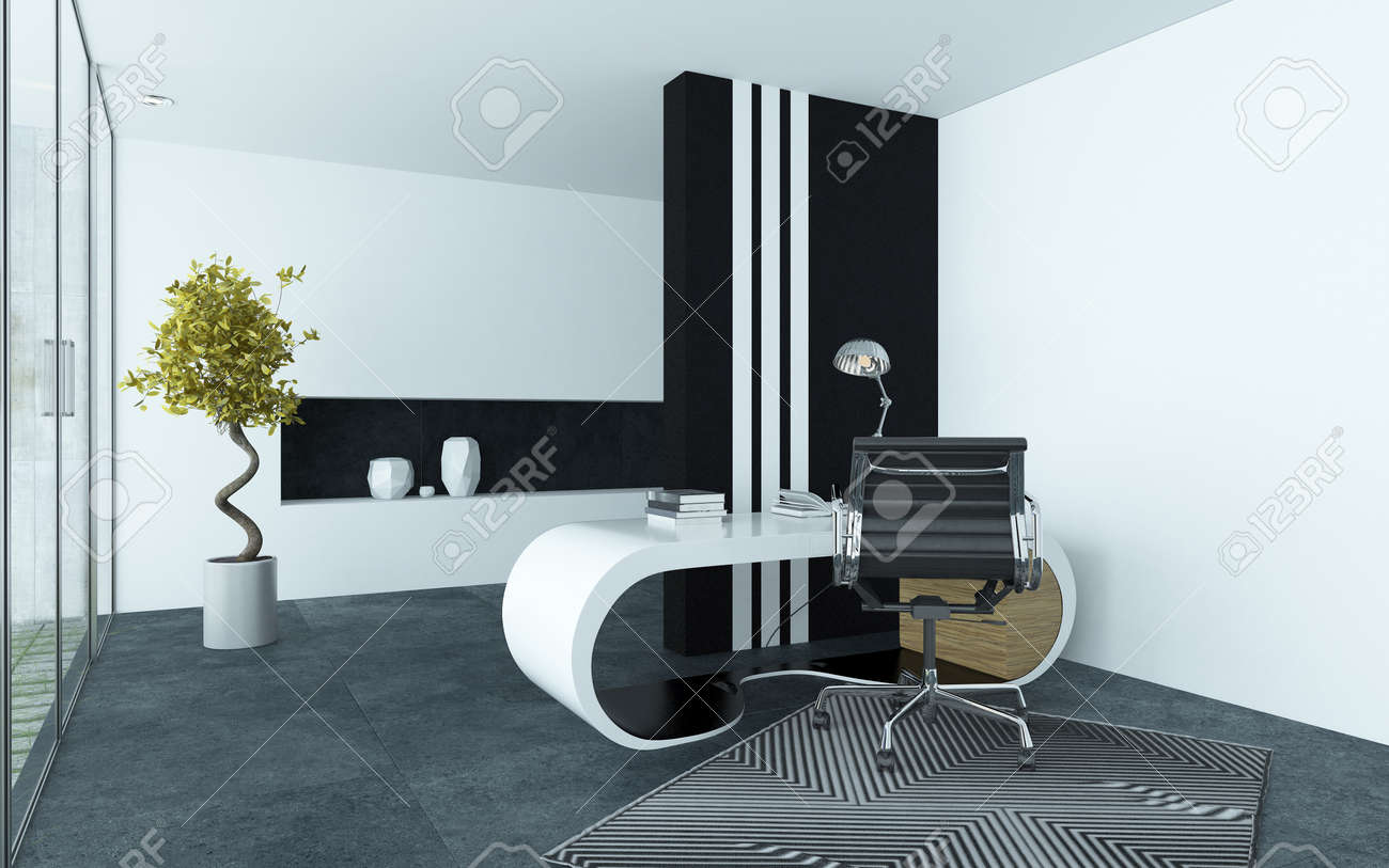 office interior decor. Modern Elegant Office Interior With Clean Grey And White Decor A Curved Modular Desk,