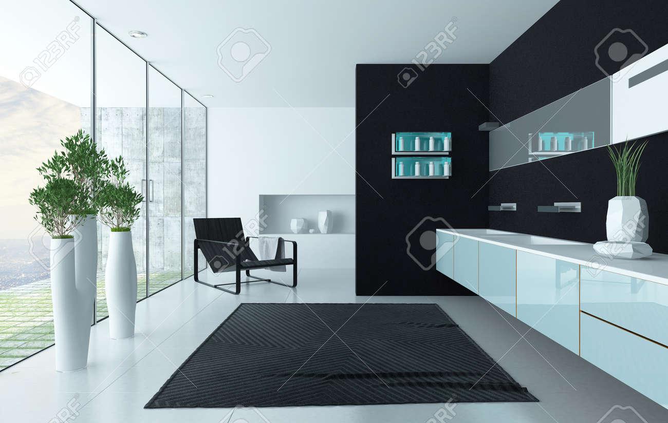 Moderne Schwarze Luxuriöse Design-Badezimmer Interieur Lizenzfreie ...