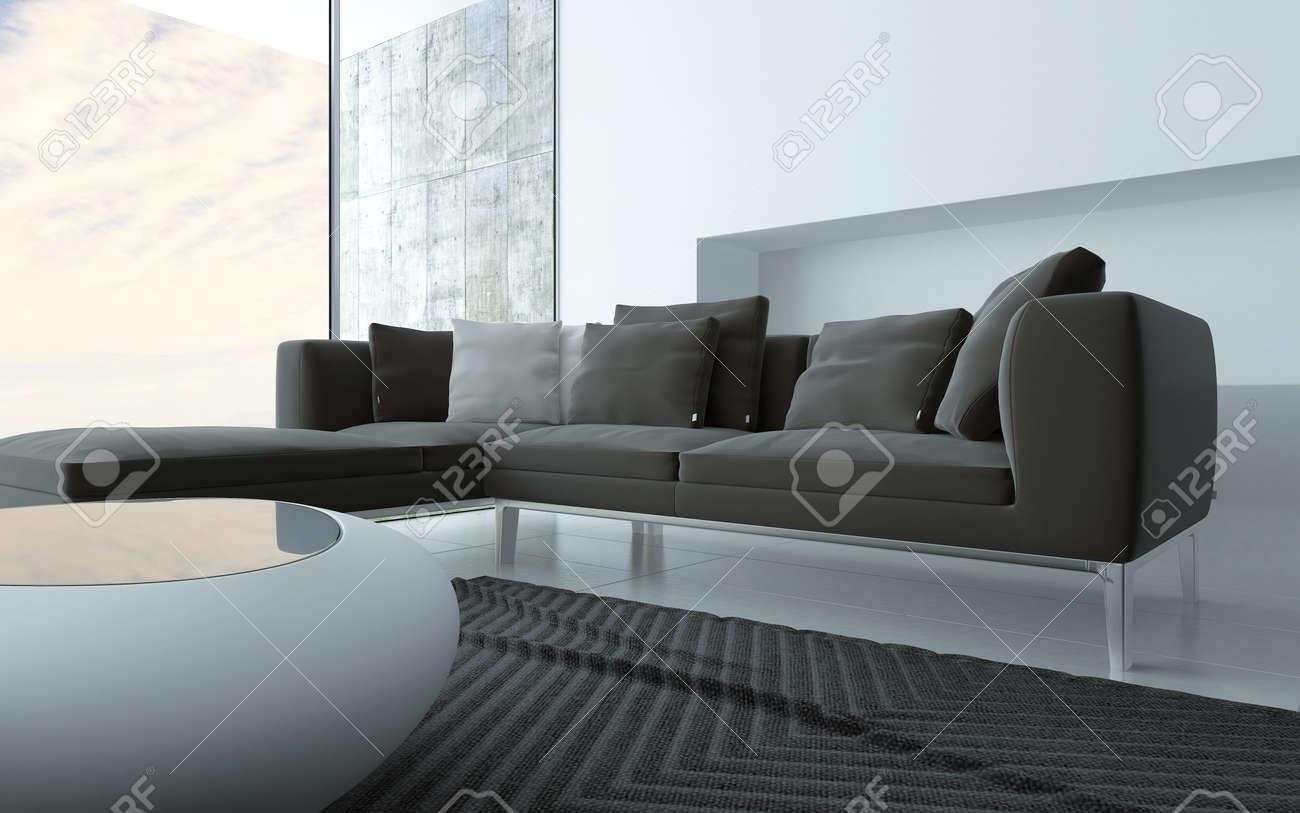 Grijs en witte minimalistische woonkamer interieur met een ...