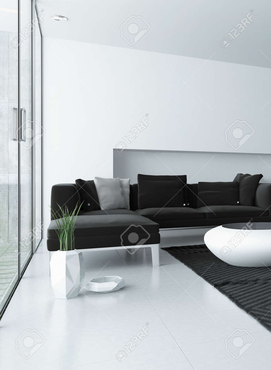 Modern Living Room With Grey And White Decor And A Corner Unit ...