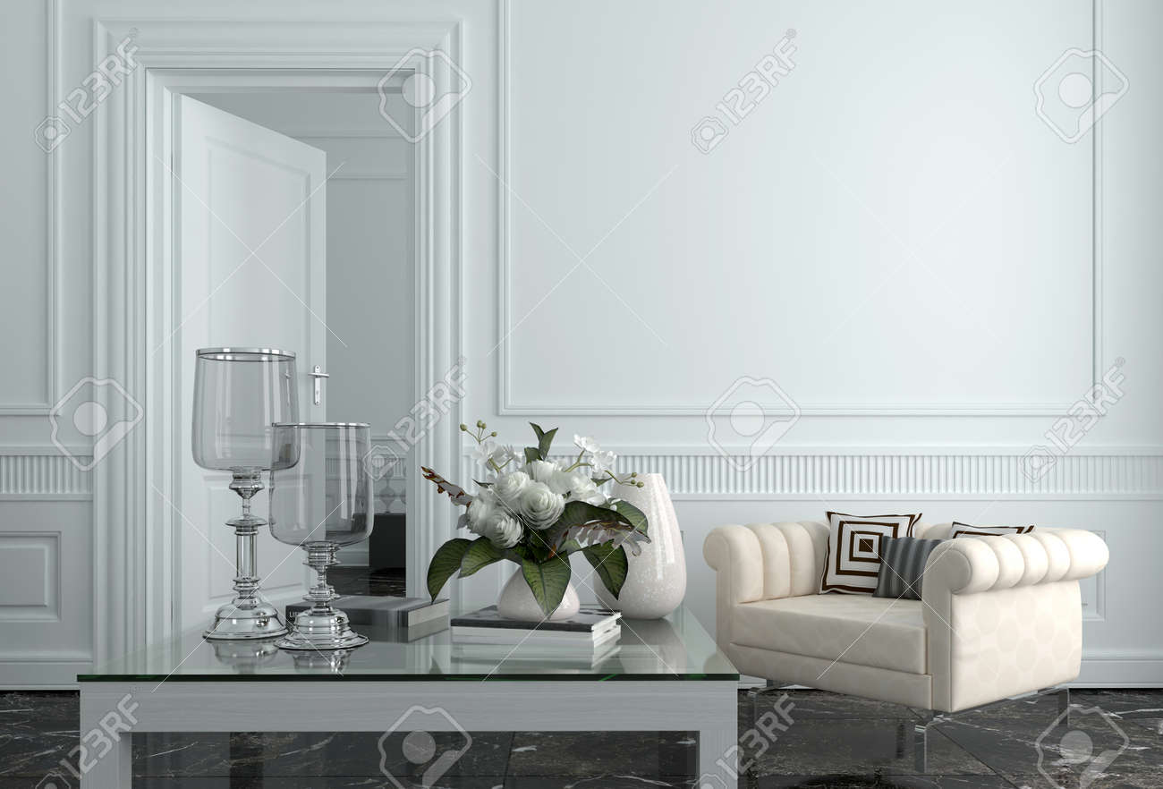 Sitting Room Of Luxury Upscale Home With White Walls And Furnishings ...