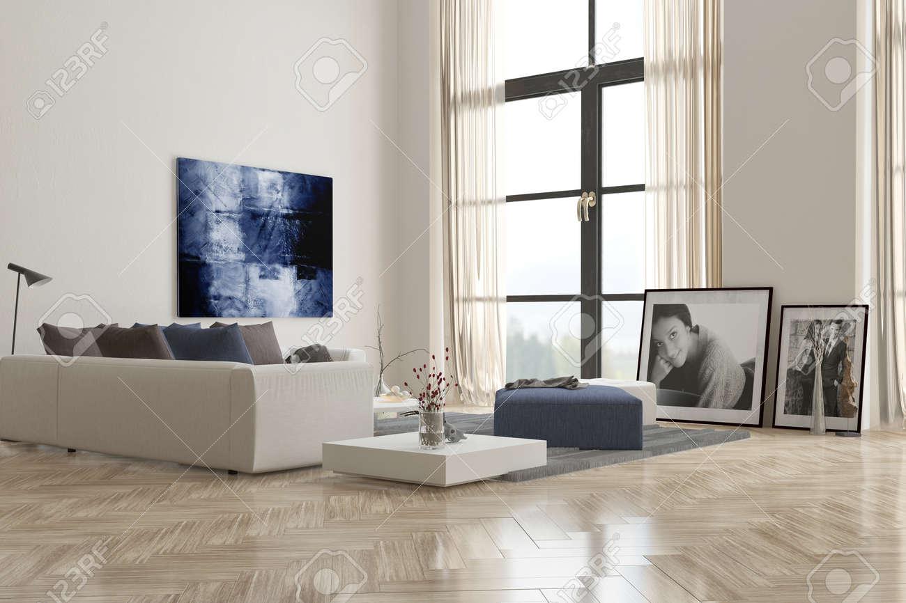 Vivre intérieur de la chambre avec un plancher à chevrons parquet ...
