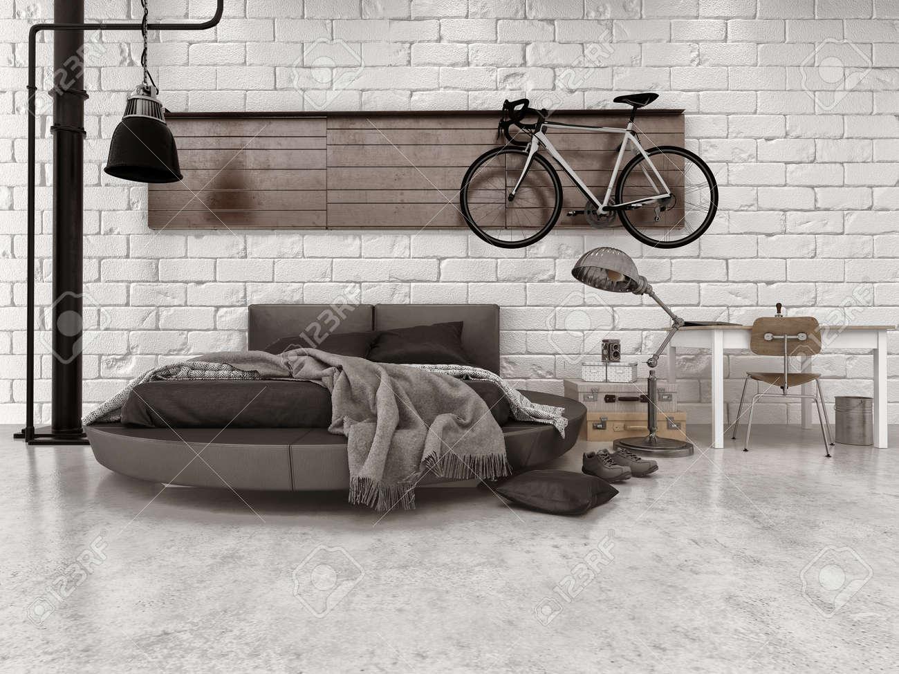 Banque Du0027images   Moderne Style Loft Chambre Dans Appartement Avec Un  Mobilier, Lit Rond, Et Vélos Suspendus Sur Mur