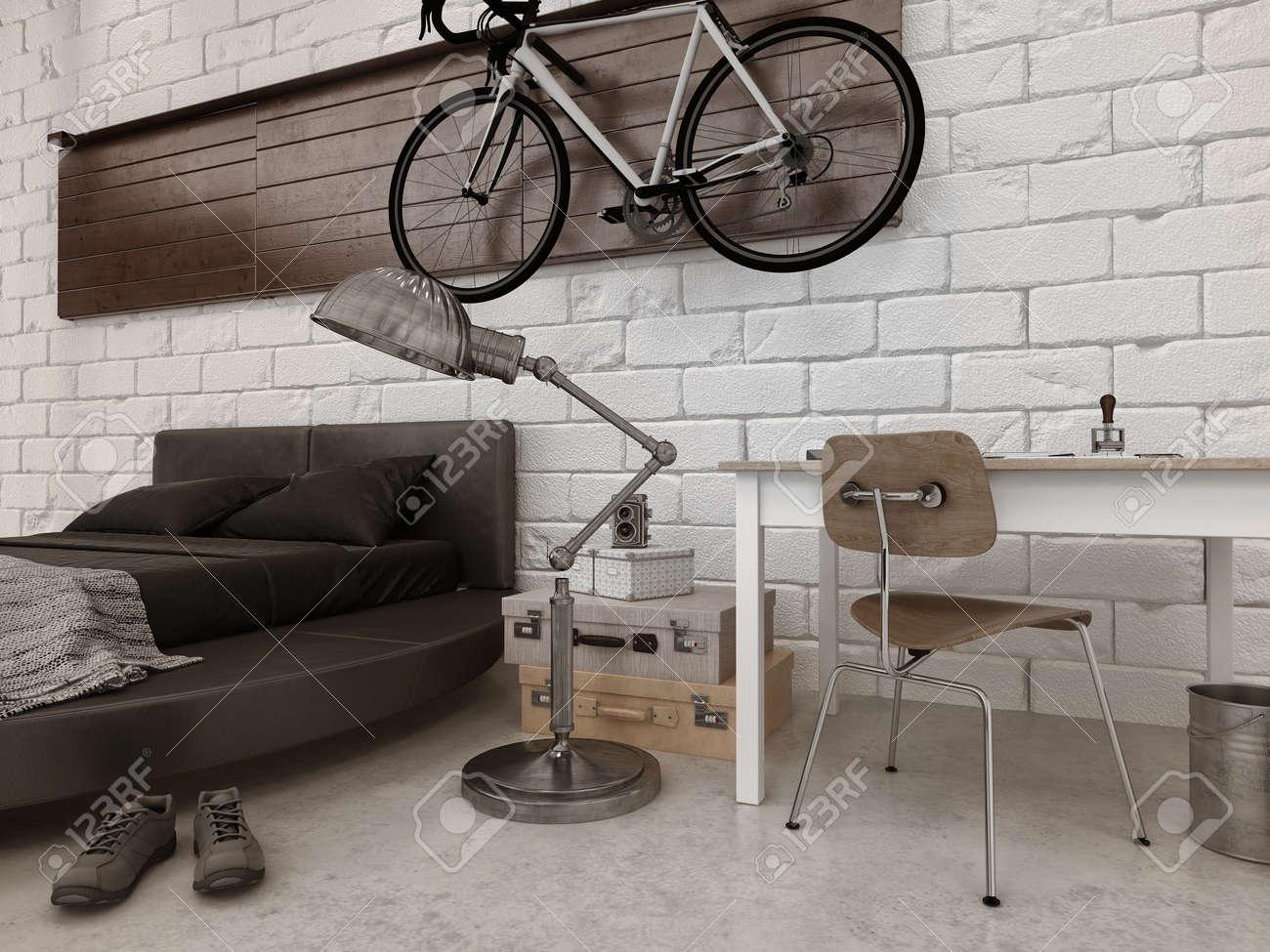 Moderne Style Loft Chambre Dans Appartement Avec Un Mobilier Lit - Lit rond suspendu