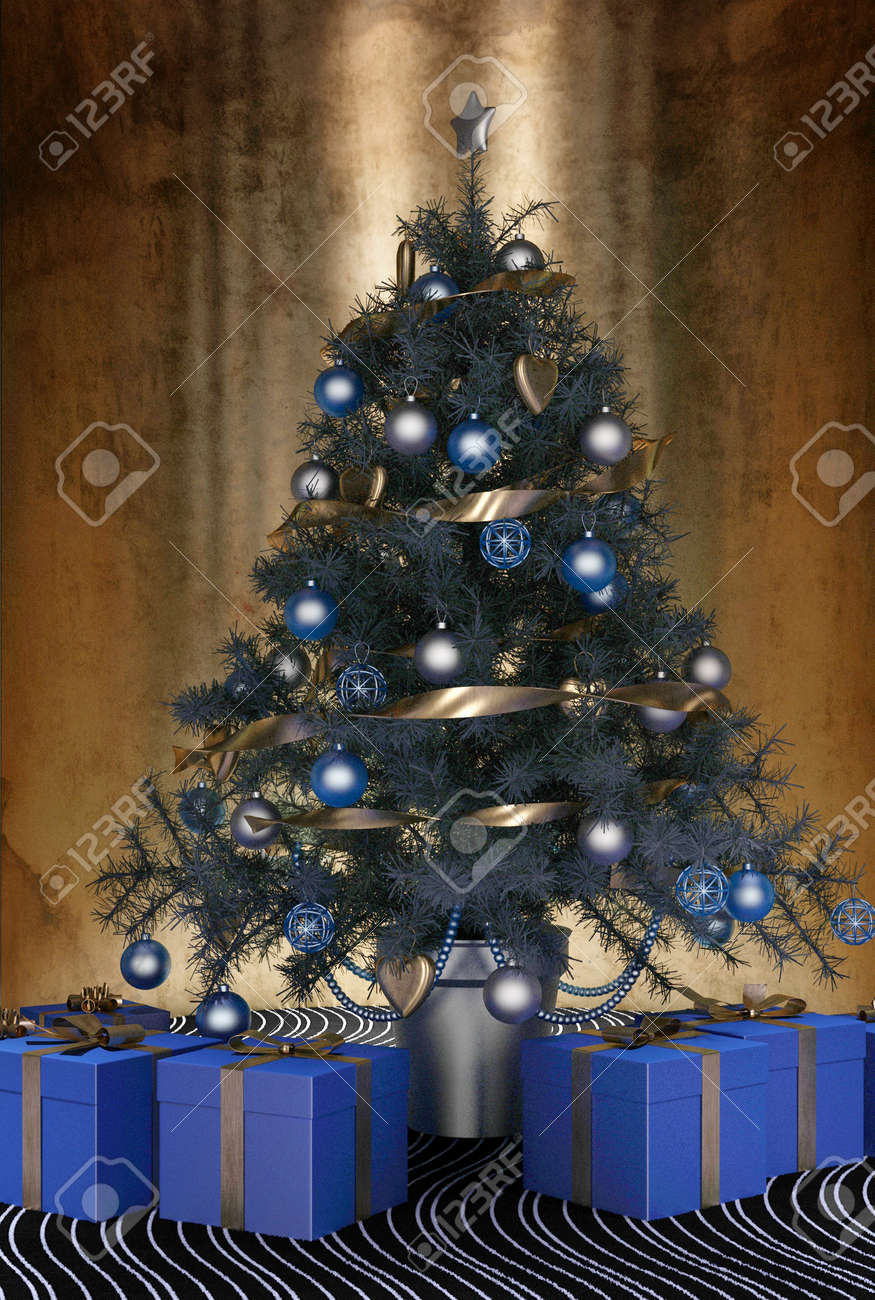 Christmas tree decorations blue and silver - Beautiful Blue Themed Christmas Tree Decorated With Blue Baubles And Ornaments And A Silver Ribbon Garland