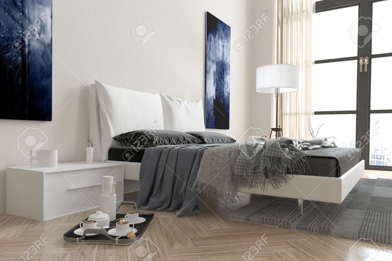 Modern bedroom interior with double divan bed covered in rugs..