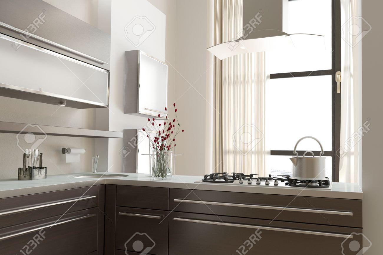 Moderne Offene Küche Mit Kochfeld Auf Einer Offenen Zähler Einen ...