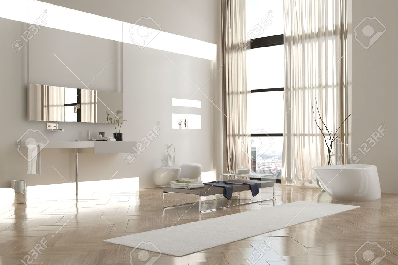 Intérieur de salle de bain moderne blanc en Appartement avec clairsemés  ameublement