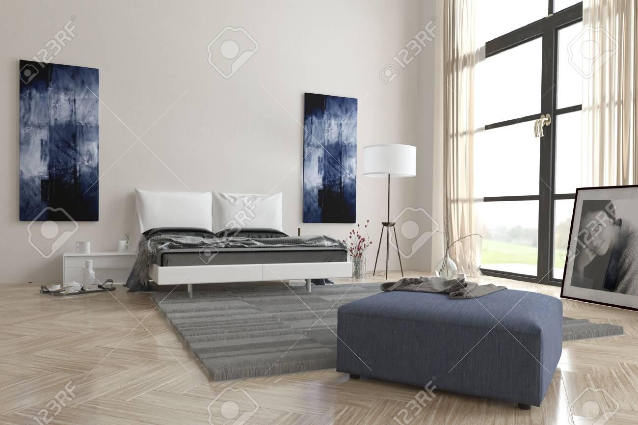 Intérieur gris et blanc contemporain confortable chambre avec l\'art  abstrait de mur, grande fenêtre de vue, lit double, pouf et chevrons en  bois ...