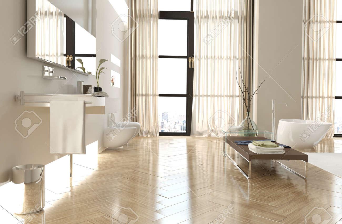 Moderne Gehobene Badezimmer Innenraum Mit Einem Fischgrätenboden, Raumhohe  Fenster Mit Vorhängen, Spiegel, Eitelkeit