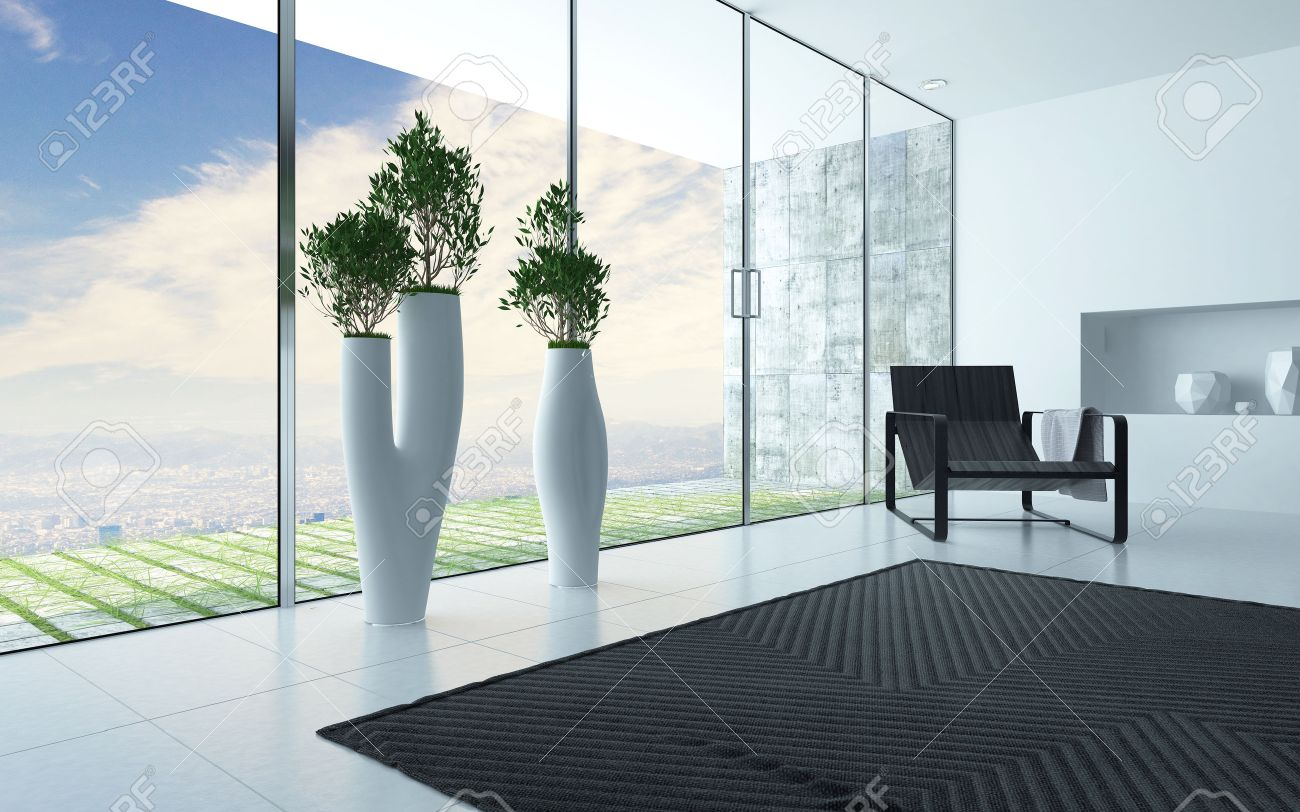 Living Room Interior With A Panoramic Glass Wall Overlooking.. Stock ...