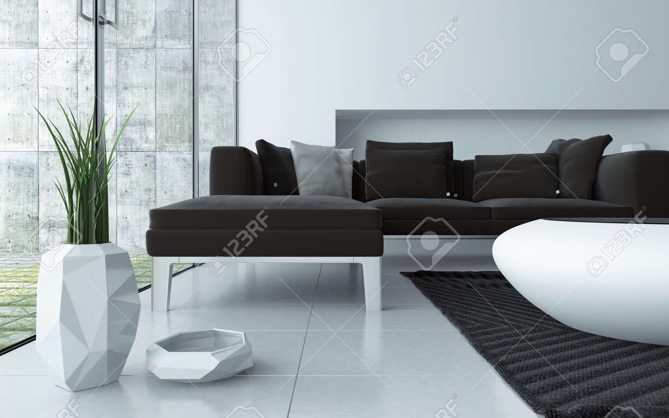 Modern grey and white living room interior viewed low angle over a tiled floor with an