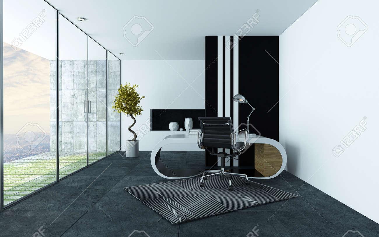 Bureau moderne élégant ou étudier avec un décor gris et blanc d