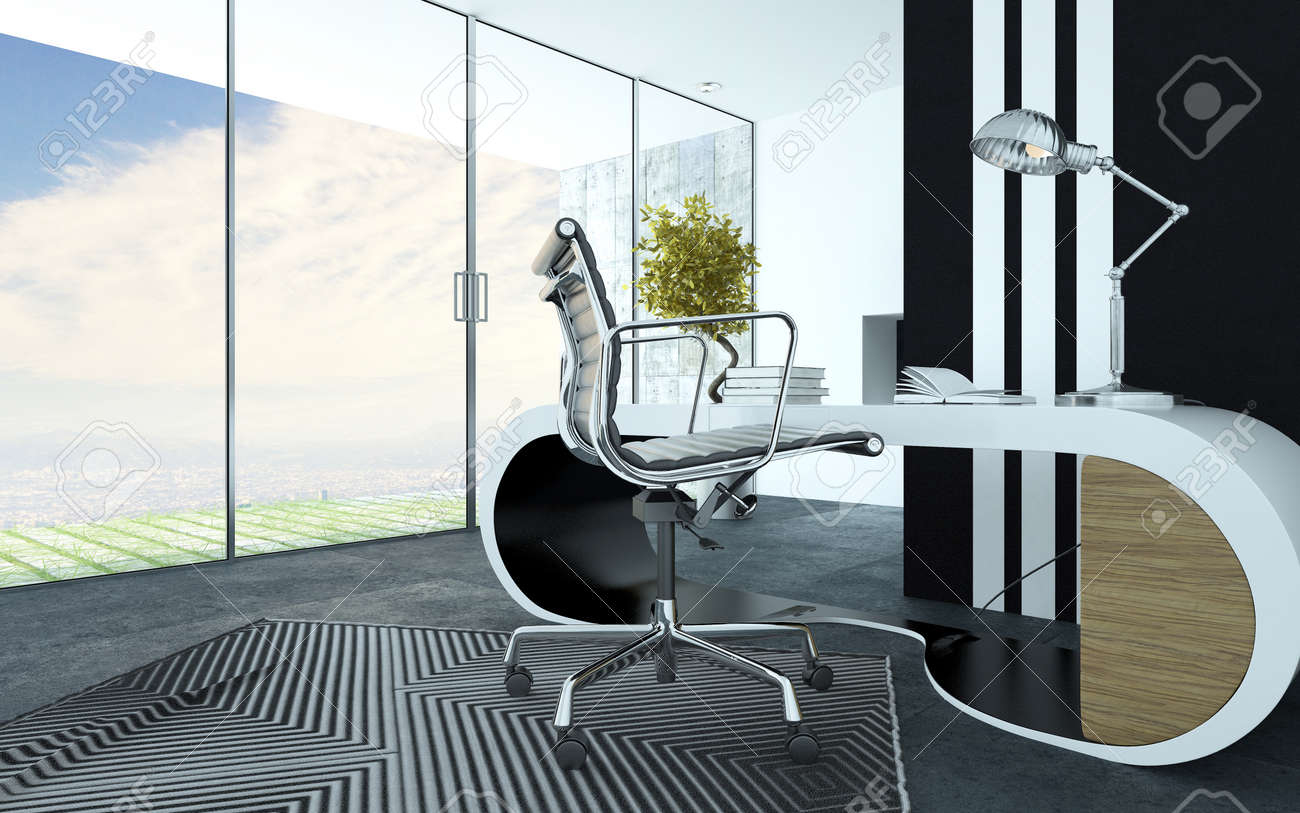 stock photo stylish curved white modern office furniture in an upmarket office interior with a metal swivel chair striped carpet and cabinet and a